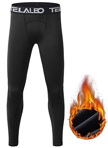 TELALEO Boys' Girls' Long Sleeve Compression Shirts Thermal Fleece Lined Kids Athletic Sports Tops Leggings Baselayer Set M