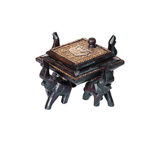 BORE Cenicero de madera maciza, cenicero para sala de estar, decoración del hogar, cenicero retro creativo, cenicero con tapa, cenicero (color: A)