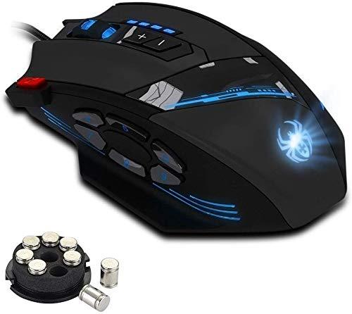 ZELOTES Gaming Maus mit 12 programmierbare Tasten,Gamer Maus mit Einstellbarer DPI, LED Beleuchtung,USB Wired Gaming Mouse Mäuse für PC Laptop Office Home