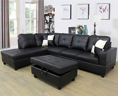 Ainehome Faux Leather 3 Piece Sectional Sofa Couch Set, L-Shaped Modern Sofa with Chaise Storage Ottoman and Pillows for Living Room Furniture, Left Hand Facing Sectional Sofa Set Black
