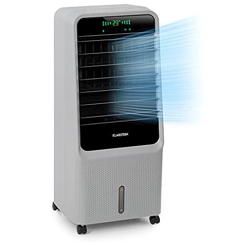 Klarstein Townhouse - Enfriador de aire, 3 en 1, Ventilador, Humidificador de aire, 110 W, 396 m³/h, 4 modos: normal, naturaleza, noche e inteligente, Programable 8 h, Déposito de 7 L, Gris os