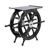 Nagina International Pirate's Black Nautical Handcrafted Wooden Stool | Home Decor Ship Wheel Table Furniture (X-Large)