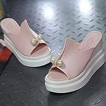 WENSHOGG High heels Women's Summer Sandals Wedges Flats Women's Casual Open Sandals 6.5 Pink