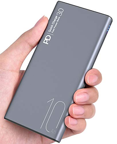 TOZO WB1 Portable Charger 10000mAh Super Slim and Light Fast Power Bank 18W PD+Quick Charge 3.0 High-Speed Charging External Battery Pack with USB C Input/Output for iPhone,iPad,Samsung and More Gray