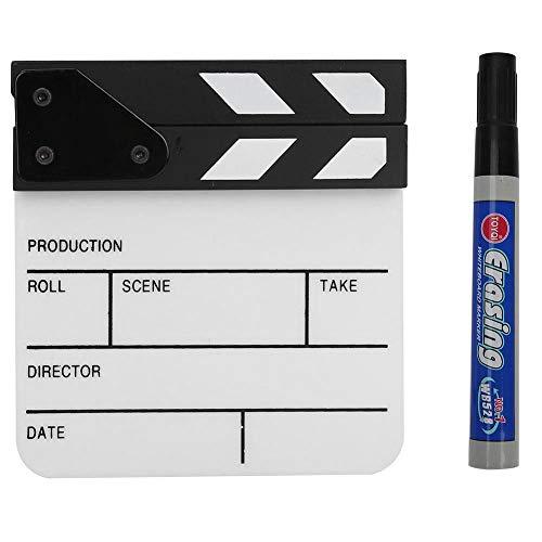 Tosuny Mini claqueta de acrílico Clapboard de la película del Director Easy Wipe Cut Escena de acción Clapper Board Pizarra con lápiz para películas, programas de televisión(Blanco Negro)