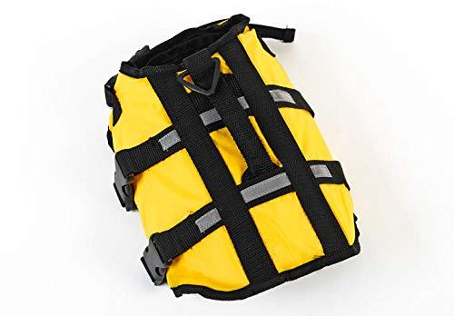 Gulunmun Pet Dog Life Jacket Safety Vest Surfing Swimming Swimming Summer Vacation Oxford Respirant Bulldog Français Swimsuit-Yellow XXXL