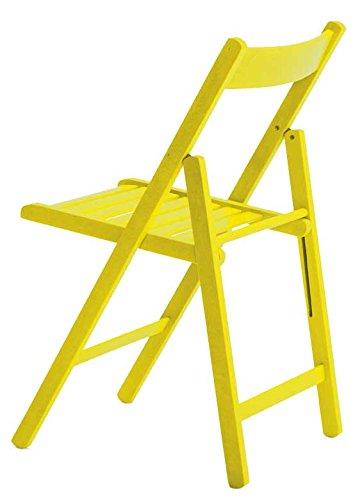Silla plegable amarilla de madera para jardín