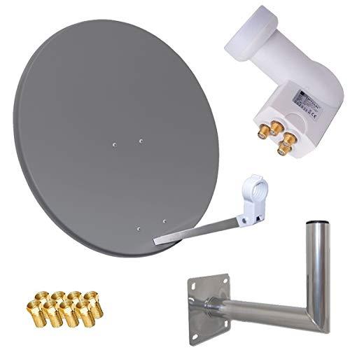 netshop 25 HD Sat Anlage 80cm Spiegel + Opticum Quad LNB für 4 Teilnehmer + 40cm Wandhalter (3 Farben wählbar)