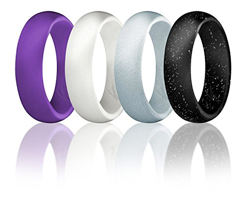 ROQ Silicone Wedding Ring for Women, Set of 4 Silicone Rubber Wedding Bands - Black with Glitter Sparkle Silver, Purple, White, Metal Look Silver - Size 10
