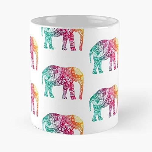 Flor elefante arco iris círculos rosa acuarela floral Paisley la mejor taza de café de cerámica blanca de 11 oz