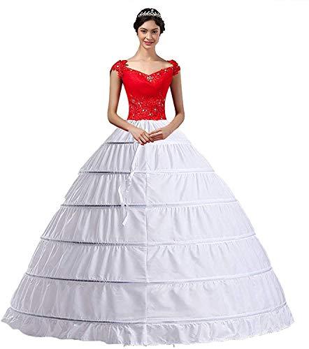 Damen Lang Reifrock Hochzeit 6 Hoop Unterrock Crinoline Petticoat Fuer Abendkleider,Weiße, waist:66-109cm length:100cm