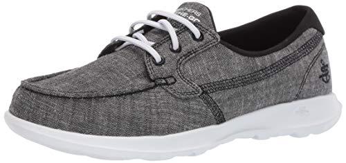 Skechers womens Go Walk Lite - 15433 Boat Shoe, Black/White, 8.5 US