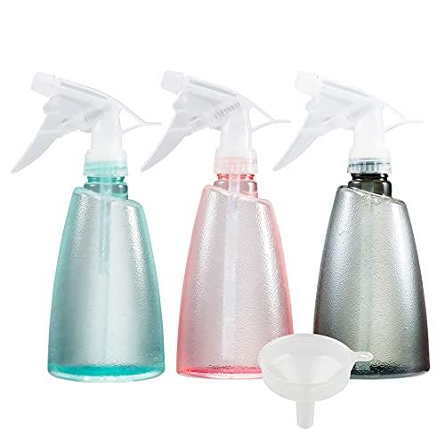 ZEOABSY 3 Piezas 500ml Mixto Botella de Spray Vacías Plástico, 500 ml Recargable Botellas de Spray de Niebla Fina para Limpieza, Cabello, Plantas, Flores, Peluqueria + 1 x Embudo