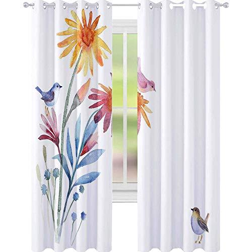 YUAZHOQI Cortina de acuarela para puerta francesa, flores de primavera con pájaros, efecto de pincel para decoración de niños, cortinas personalizadas, 132 x 241 cm, color azul pizarra y ámbar
