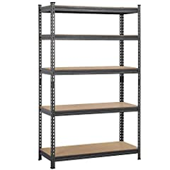 Sturdy metal & MDF boards: Our storage rack is constructed in high-quality steel and MDF boards. The max weight capacity of each tier is 595lb (evenly distributed and on a level surface). Adjustable height: This shelf has five tiers, and the height o...