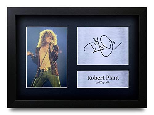 HWC Trading Robert Plant A4 Gerahmte Signiert Gedruckt Autogramme Bild Druck-Fotoanzeige Geschenk Für Led Zeppelin Musik-Fans