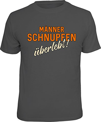 RAHMENLOS Original Herren T-Shirt für den erkrankten Mann: Männerschnupfen-überlebt! L, Nr.6281