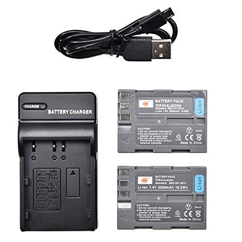 DSTE EN-EL3E Li-Ion Batería (2 Paquetes) Traje y Cargador Micro USB Compatible con Nikon D30 D50 D70 D70S D90 D80 D100 D200 D300 D300S D700