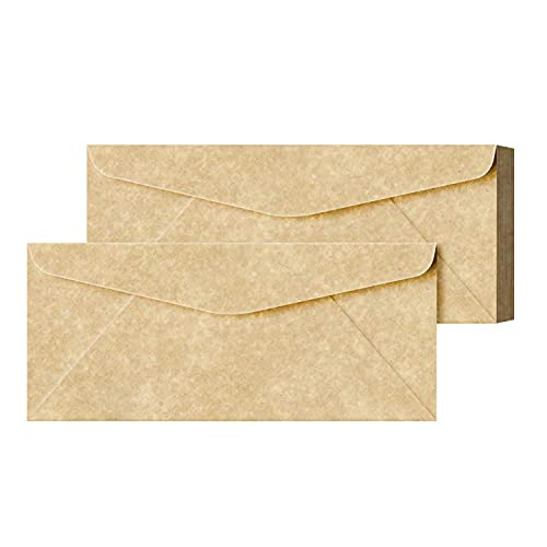 Elegant Aged Parchment #10 Business Envelopes � Great for Invitations, Greetings, Holiday, Office, Invoices, Letters, Mailings | 4 1/8 x 9 1/2 Inches | 50 Per Pack