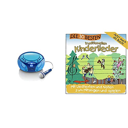 Lenco SCD-650 - Kinder CD-Player - CD-Radio - Karaoke Player - Stereoanlage - CD/MP3 und USB Player - 2 x 2W RMS-Leistung - Blau & Die 30 besten traditionellen Kinderlieder - mit Liedtexten und Noten