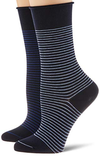 ESPRIT Damen Fine Stripe 2-Pack Socken, blau (Marine 6121), 39-42 (UK 5.5-8 Ι US 8-10.5) (2er Pack)