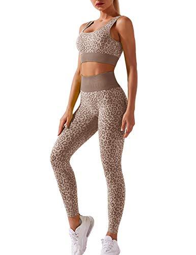Menore Damen Yoga BH & Leggings Hosen Trainingsanzüge Hohe Taille Sportkleidung Damen Set Tights Shape Stretch Sport Outfit Fitness Set 2 Piece