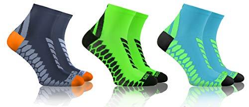 Sesto Senso Calze Corte Sportive Colorate Jogging Donna Uomo 3-12 Paia Grigio Grafite Turchese 39-42 3 Pack Verde Mix