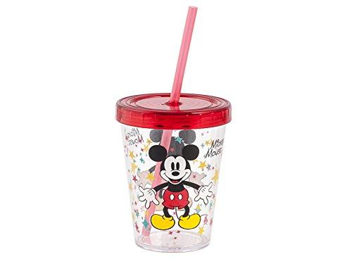 Lulabi Disney Mickey Bicchiere con cannuccia, Plastica, Trasparente, 450 ml