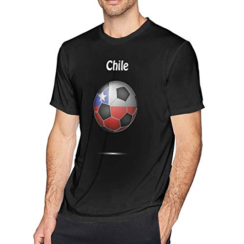 Chile Flag Soccer Football Herrenmode Kurzarm T-Shirt Solid Tee Schwarz,6XL