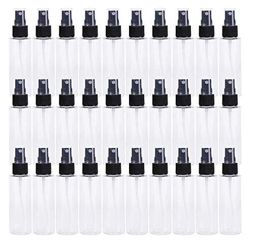 Lawei 30 Piezas Botella de Spray Plástico Botes Transparentes con pulverizador Transparente para Perfume Chanmpú Botella Cosmetica - 60 ml