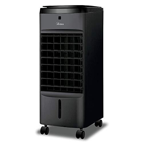 Ardes AR5AMR08 Penny Raffrescatore Evaporativo d'Ambiente con Ruote Digitale Timer e Telecomando capacità Serbatoio 4 L, Nero