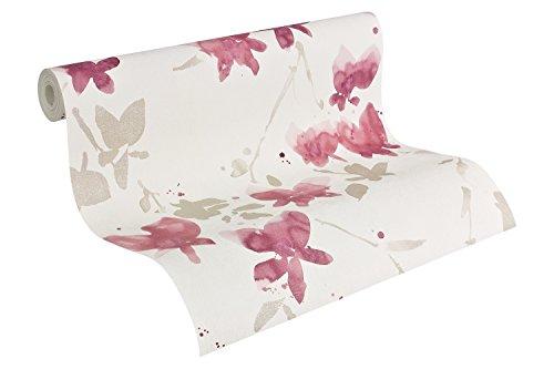 Daniel Hechter 952842 behang met patroon, bloemen, metaal, rood, wit