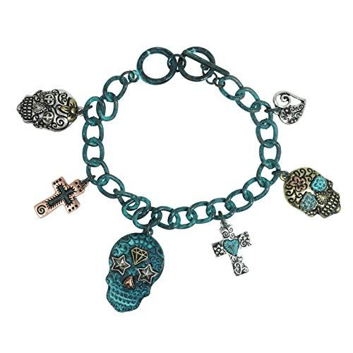Elosee Sugar Skull Charm Toggle Bracelet (Patina)