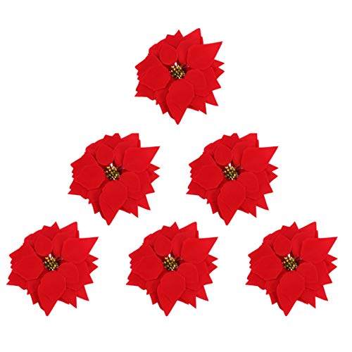 WINOMO 50pcs Christmas Poinsettia Flowers, Artificial Poinsettia Flowers Christmas Tree Decorative Flowers for Xmas Home Front Door Decorations