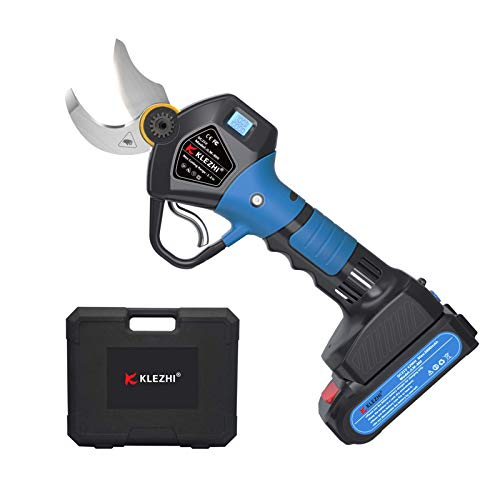 K KLEZHI Professional Sharp Cordless Electric Pruning Shears with Screen, 2 Backup Rechargeable Lithium Battery Powered Tree Branch Trimmers Pruner, 1.2Inch 30mm Cutting Diameter 6-8 Working Hours