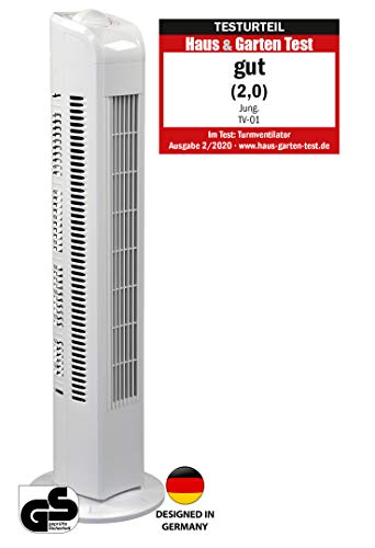 Jung TV01 TESTURTEIL 2020 - Ventilador de torre silencioso (78 cm, 0,05 kW/h, bajo consumo), color blanco