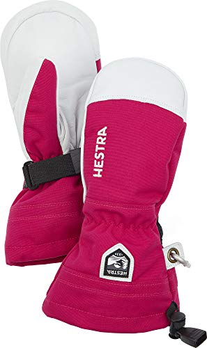Hestra Army Leather Heli Ski Junior - Classic Snow Mitten for Skiing and Mountaineering for Kids and Youth - Fuchsia - 5
