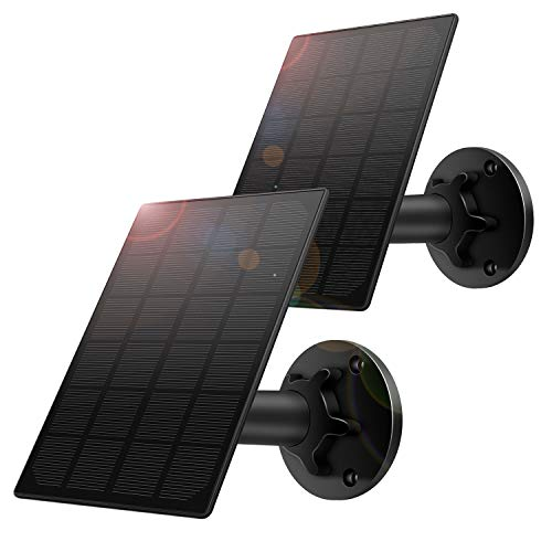 Solar Panel for Wireless Outdoor Security Camera,Compatible with DC 5V Rechargeable Battary Powered Surveillance Camera, Continuously Power for Outdoor Security Camera,5V 3.5W Micro USB Port(2 Pack)