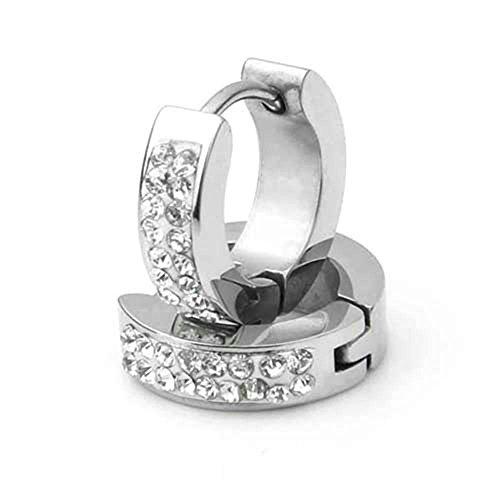 skyllc® Boucle d'oreille Acier INOX Inoxydable Strass 14x4mm Chic