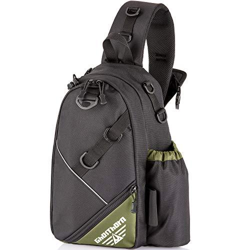 Ghosthorn Fishing Tackle Backpack Sling Bag with Rod Holder Tackle Box Backpack Fly Fishing Sling Pack Outdoor Shoulder Storage Fishing Gear Bag for Saltwater and Freshwater Large Black