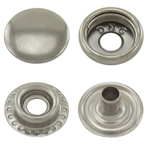 GETMORE Parts Druckknöpfe Ringfeder, Ring-Feder-Buttons, R-Feder-Snaps, Messing, rostfrei, vierteilig - ab 50 Stück - Altsilber, 12,5 mm