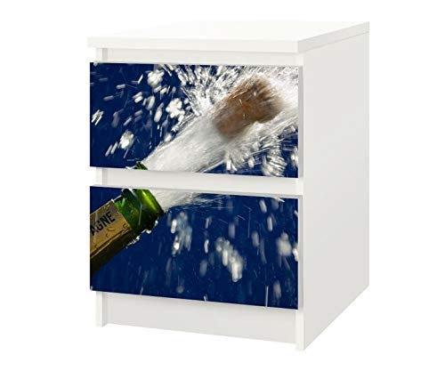 Set Möbelaufkleber für Ikea Kommode MALM 2 Fächer/Schubladen Sekt Flasche Champagner Sylvester Kat20 Korken Fest Aufkleber Möbelfolie sticker (Ohne Möbel) Folie 25F520