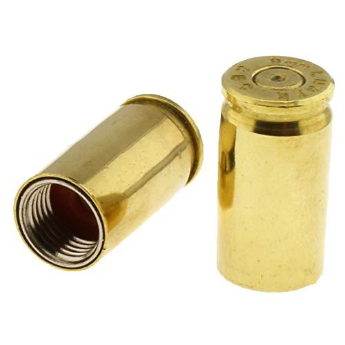 Screws4Bikes | 2X Ventilkappen Patronenhülse 9mm | Messing | universal für Auto, Motorrad, Moped, LKW