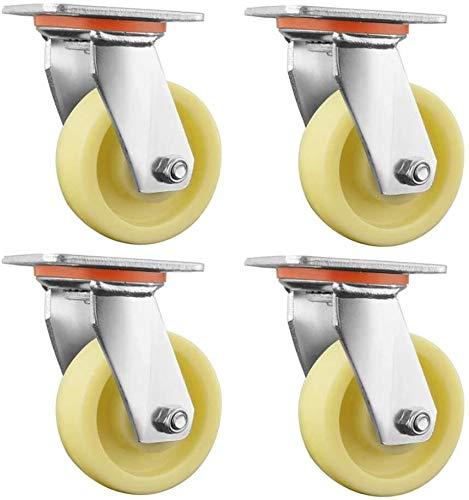 Qivor Gleitrollen, 4 Stück Schweres Weiß Nylon Tieflader-LKW Trolley Industrie Directional Rad, Bürostuhl Drehstuhl Universal-Rad, ersetzen Zubehör mit Brems Mute Möbel Rad (Color : B, Size : 5in)