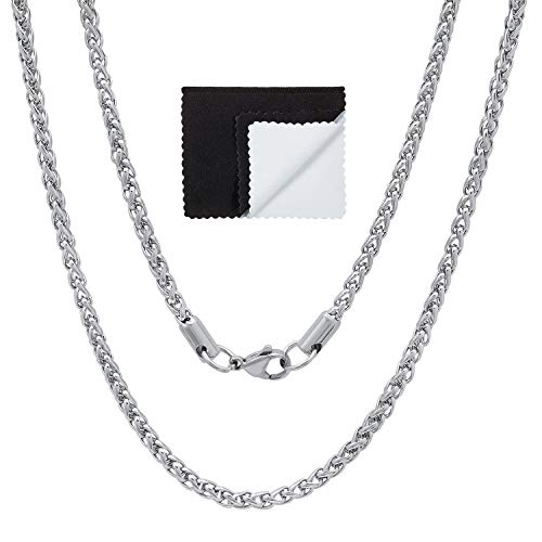 3mm Durable Stainless Steel Rounded Braided Wheat Chain Necklace