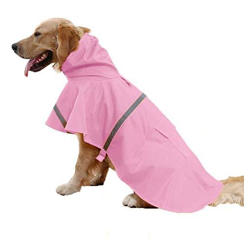 Ducomi Neon - Impermeabile Cane Taglia Piccola, Media e Grande - Mantella Pioggia per Cani con Chiusura Velcro e Tasca - Cappotto con Fascia Riflettente e Cappuccio Regolabile (Pink, XXL)