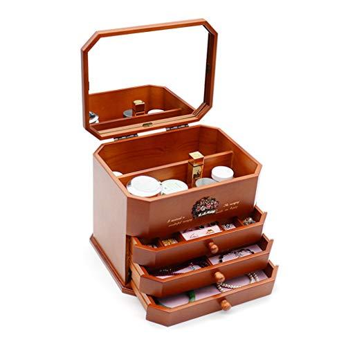 GYY Coffret à Bijoux à 3 Couches avec boîte de Rangement pour Miroir Princesse européenne Cadeau en Bois Massif de Grande capacité (Color : Brown, Size : 29X23.5X23CM)