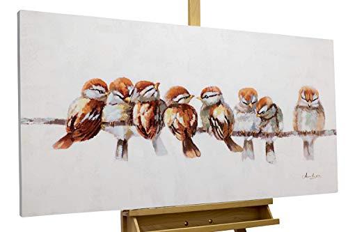 KunstLoft® Acryl Gemälde 'Happy Family Reunion' 120x60cm | original handgemalte Leinwand Bilder XXL | Vögel Heimat Bunt Braun Weiß | Wandbild Acrylbild Moderne Kunst einteilig mit Rahmen