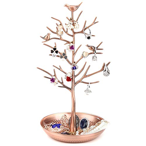 WELL-STRONG Jewelry Tree Necklace Earring Holder Modern Cute Bird Jewelry Stand for Women Girls Teen Bronze