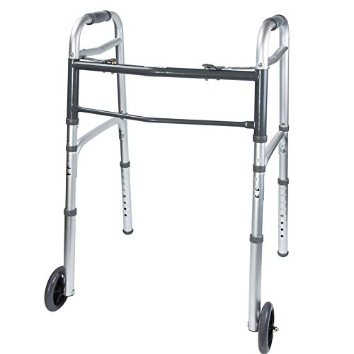 Vaunn Medical Two Button Folding Walker with Wheels, Adjustable Height and Detachable Legs